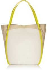 Nina Ricci Ballet Cabas Leather And Canvas Tote Beige