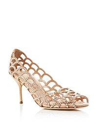 Sergio Rossi Vague Peep Toe Pumps New Nude