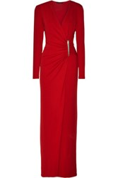 Donna Karan New York Ruched Stretch Jersey Gown Red