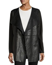Neiman Marcus Faux Leather Long Jacket Black