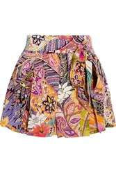Etro Printed Silk Crepe De Chine Shorts Bright Pink