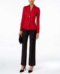 Le Suit Contrast Tweed Two Button Pantsuit Scarlet Black