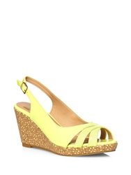Evans Extra Wide Fit Lime Yellow Laser Cut Wedge Heels