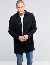 Asos Wool Mix Trench Coat In Black Black