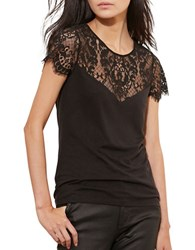 Lauren Ralph Lauren Lace Yoke Jersey T Shirt Black