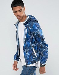 Celio Light Weight Hooded Jacket With All Over Print Indigo Navy