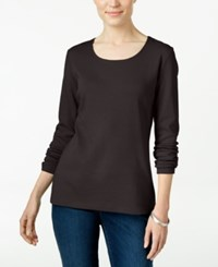 Karen Scott Long Sleeve Scoop Neck Top Only At Macy's Chocolate