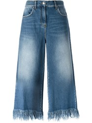 Msgm Cropped Wide Leg Jeans Blue