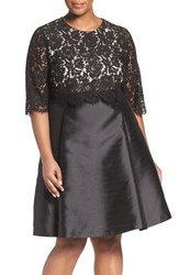 Eliza J Plus Size Women's Popover Lace Bodice Mikado Fit And Flare Party Dress