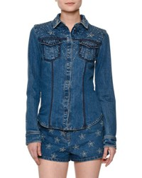 Valentino Star Studded Denim Button Front Top Blue
