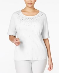 Karen Scott Plus Size Studded Top Only At Macy's Bright White