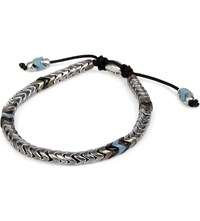 M Cohen African Glass And Sterling Silver Navajo Bracelet Silver Blue