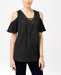 Inc International Concepts Petite Lace Up Cold Shoulder Blouse Only At Macy's Deep Black
