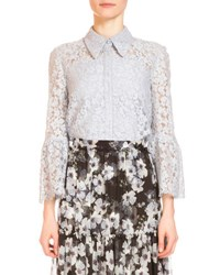 Erdem Alita Lace Bell Sleeve Blouse Blue