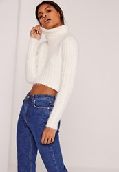 Missguided Fluffy Roll Neck Crop Jumper Cream Ivory