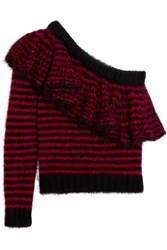 Philosophy Di Lorenzo Serafini One Shoulder Ruffled Mohair Blend Sweater Red