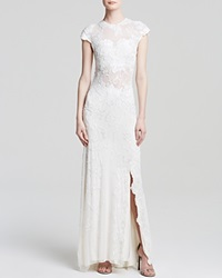 Mac Duggal Gown Cap Sleeve Beaded Illusion Yoke Ivory