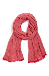 Women's Renee's Accessories Stripe Crinkle Scarf Red