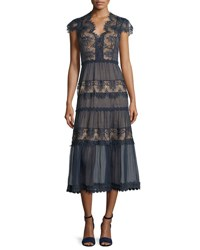 Catherine Deane Cap Sleeve Tiered Lace Midi Dress Dark Navy Almond