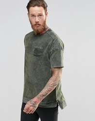 Asos Oversized T Shirt With Military Pocket Detail And Acid Wash Army Green
