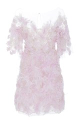Marchesa Embroidered Feather Mini Dress Purple