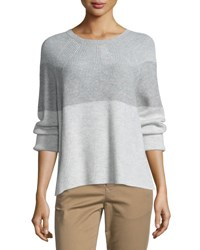 Vince Colorblock Ribbed Cashmere Blend Sweater H Cloud H Steel