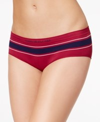 Tommy Hilfiger Seamless Striped Hipster R17t028 Red Plum Logo Stripe