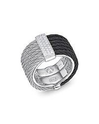 Alor Two Tone Cable Ring With Diamonds Black Gray