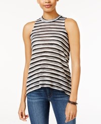 Almost Famous Juniors' Striped Mock Neck Tank Top Black