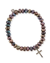 Sydney Evan 8Mm Faceted Brown Rondelle Pyrite Bead Bracelet With 14K Gold Cross Charm