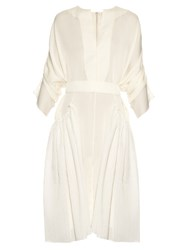 Maison Rabih Kayrouz Ruffle Trim Satin Dress Ivory