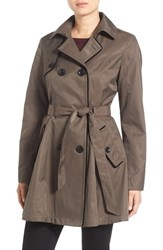 Betsey Johnson Women's Corset Back Trench Coat Taupe
