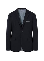 Mango Slim Fit Plush Blazer Navy