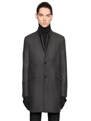 The Kooples Wool Cloth Coat W Nappa Leather Details