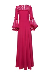 Andrew Gn Flared Sleeve Maxi Dress Pink