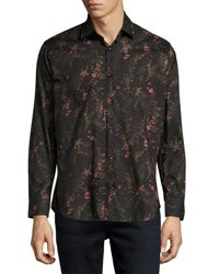 Jared Lang Floral Print Button Front Shirt Black Pattern