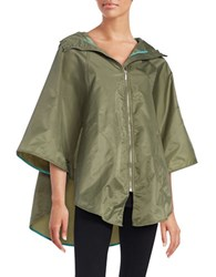 Totes Hooded Zip Front Cape Olive Green