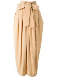 Yves Saint Laurent Vintage Bow Detail Maxi Skirt Yellow And Orange