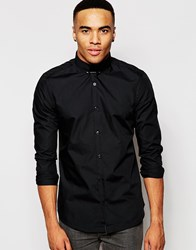 New Look Shirt With Long Sleeves And Tie Pin Detail Black