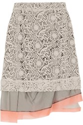 Michael Van Der Ham Macrame Lace And Silk Organza Skirt Gray