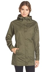 Women's Columbia 'Splash A Little' Omni Tech Waterproof Rain Jacket Peatmoss Cypress Print