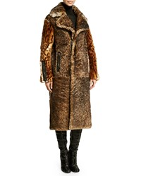 Tom Ford Oversized Collar Fur Coat Brown Black