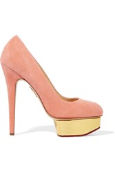 Charlotte Olympia Dolly Suede Pumps Orange