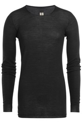 Rick Owens Men Long Sleeved Virgin Wool Top Blue