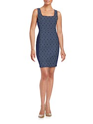 Bailey 44 Embroidered Squareneck Sheath Dress Navy