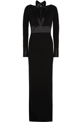 Givenchy Gown In Black Silk Satin And Jersey Crepe With Scarf