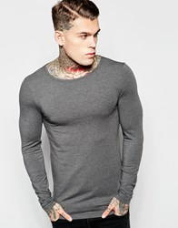 Asos Extreme Muscle Long Sleeve T Shirt With Boat Neck In Charcoal Charcoal