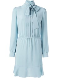 Red Valentino Pussy Bow Dress Blue