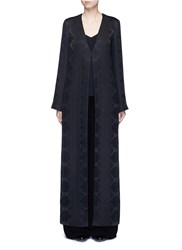 The Row 'Muan' Floral Cloque Wool Silk Maxi Coat Black