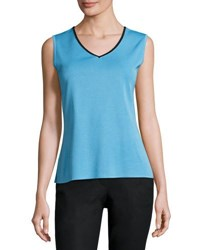Ming Wang V Neck Knit Tank Aqua